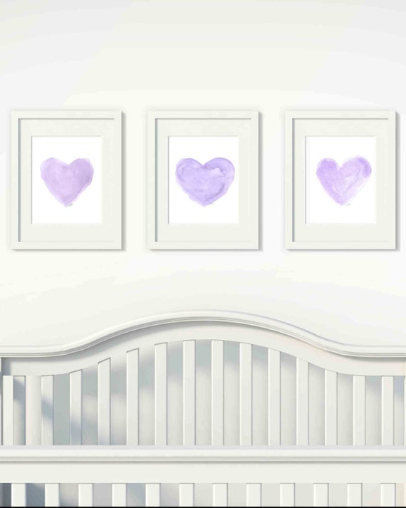 Lavender Heart Set for Nursery, Set of 3 - 11x14 Watercolor Prints