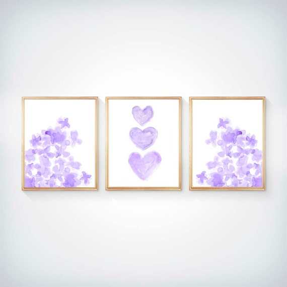 Lavender Gallery Wall for Girls Room, Set of 3- 8x10 Flowers and Hearts Prints