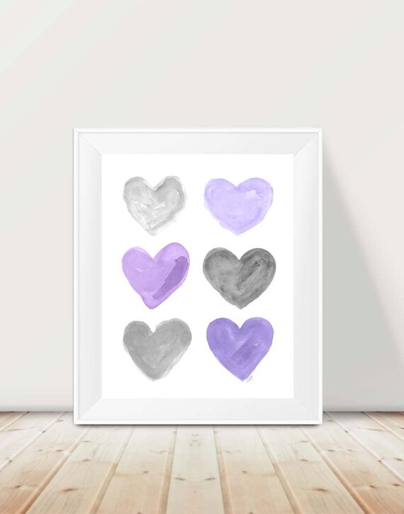 Purple and Gray Heart Collage Print for Children, 11x14
