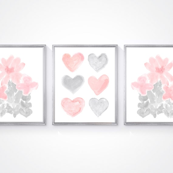 Blush and Gray Flowers Print Set for Girls Bedroom, Set of 3