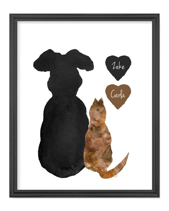 Cat and Dog Gift, 8x10 Personalized Animal Lover Print