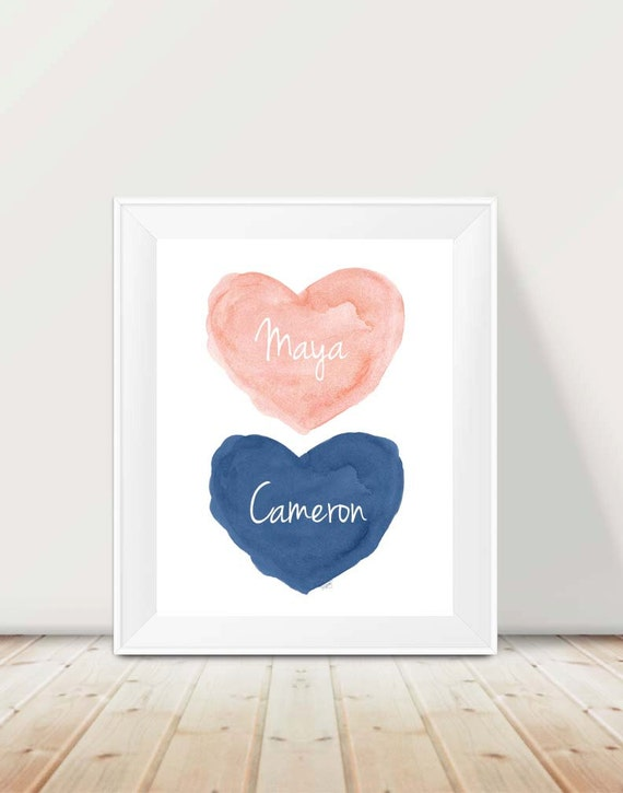 Coral and Navy Kids Room Print, 11x14 Personalized