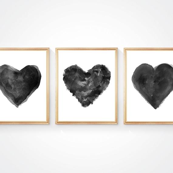 Black Watercolor Heart Triptych