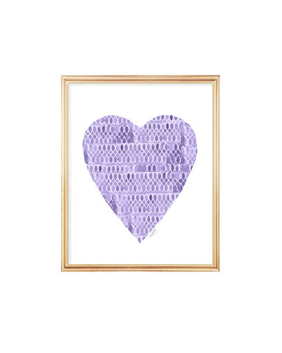 Purple Heart Art Print with Lace Pattern, 8x10