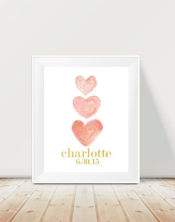 Baby Name and Birth Date Print in Coral, 11x14