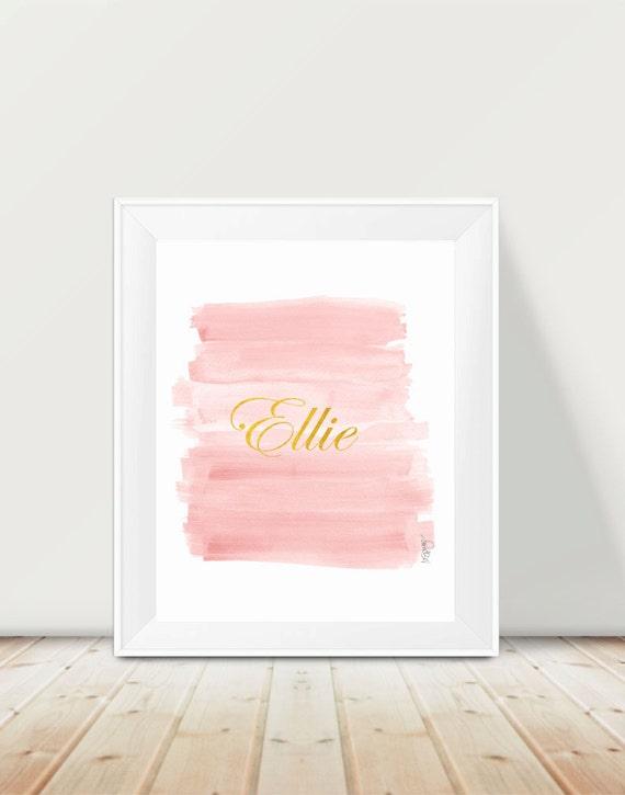 Blush Brushstrokes Personalized Name Print, 11x14