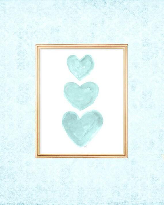 Girls Turquoise Wall Decor, 5x7, 8x10 Heart Trio Print