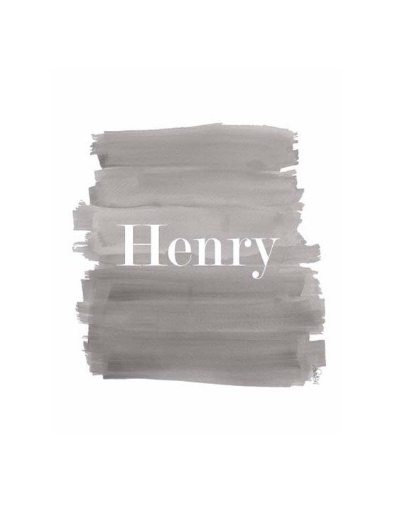 Personalized Boys Nursery Print in Gray Brushstrokes, 8x10