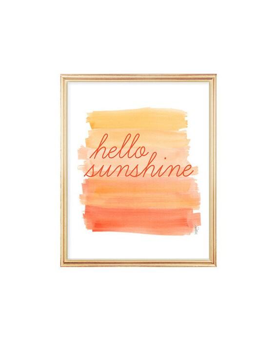 Hello Sunshine Watercolor Print, 8x10