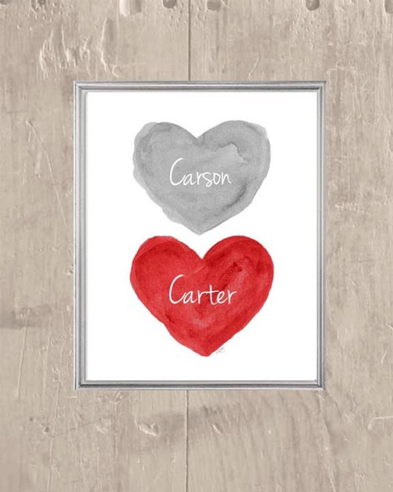 Red and Gray Personalized Kids Print, 8x10
