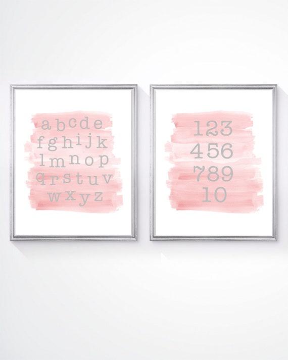 Blush ABC 123 Print Set for Toddler, Set of 2-8x10