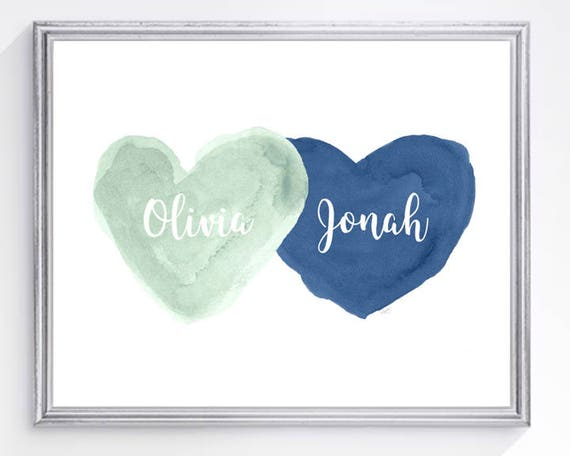 Mint and Navy Nursery Print, Personalized 8x10