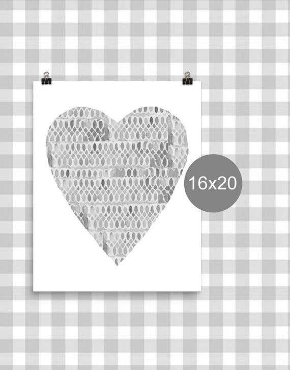 Neutral Nursery Poster with Gray Heart, 12x16, 16x20