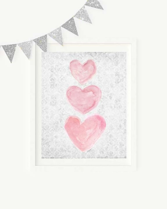 Pink and Gray Heart Trio Girls Print, 5x7, 8x10