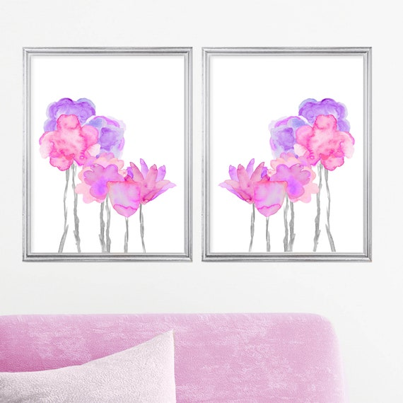Pink and Purple Flower Posters, 16x20 Set of 2 Large Floral Prints for Girls Bedroom