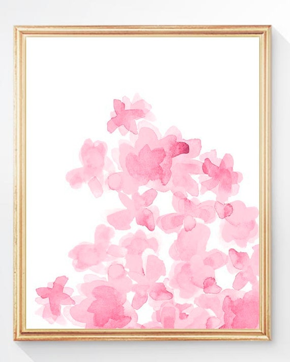Girls Room Decor; Flower Print in Pink, 8x10