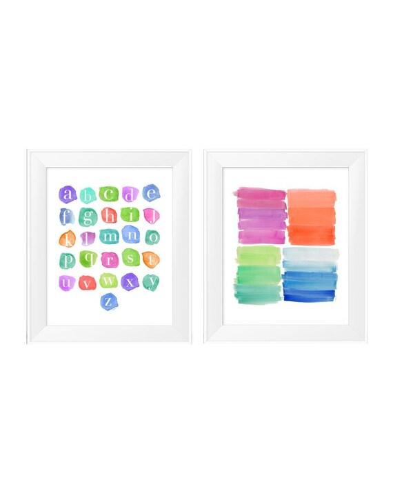 Kids Playroom Prints, 11x14-Set of 2 ABC