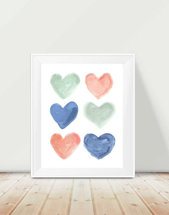 Coral and Navy Kids Print, 11x14 Heart Print