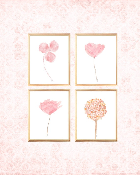 Blush Flowers Gallery Wall, 8x10 Set of 4 Watercolor Prints