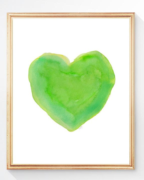 Lime Green Watercolor Heart Print, 5x7,  8x10