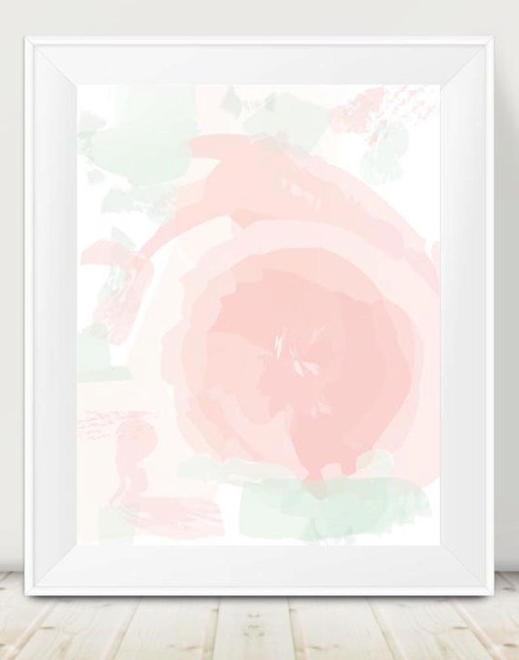 Blush and Mint Floral Nursery Print, 11x14