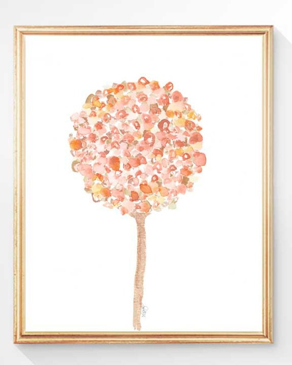 Floral Nursery Art for Girl's Room in Coral, 8x10 Print