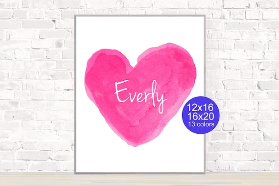 Hot Pink Personalized Heart Poster, 12x16, 16x20