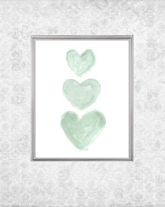 Mint Nursery Nursery Art, 8x10 Watercolor Hearts Print