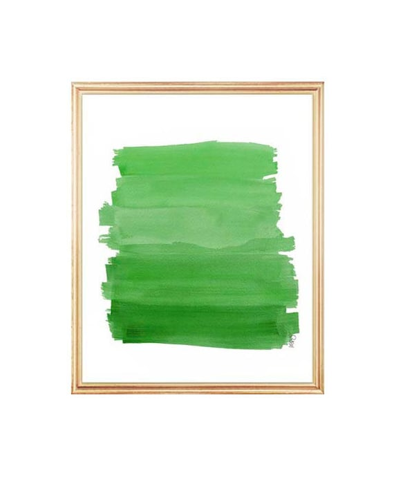 Emerald Green Decor, 8x10 Watercolor Ombre Art, Brushstrokes, Emerald Green Art, Emerald Green Ombre, Grass Green, Green and Gold Decor