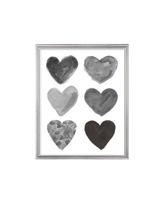 Black and Gray Nursery Print, 8x10 Watercolor Hearts