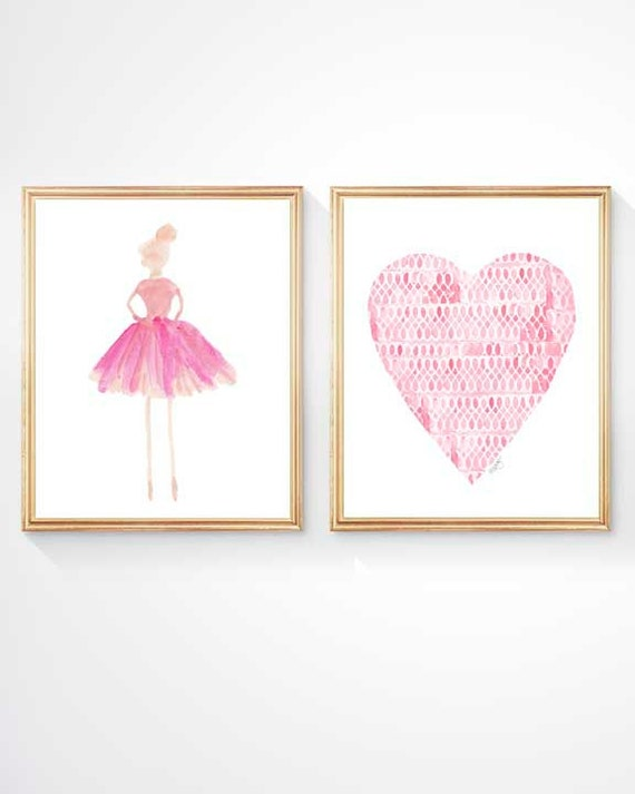 Pink Ballerina and Heart Print Set, Set of 2 - 8x10