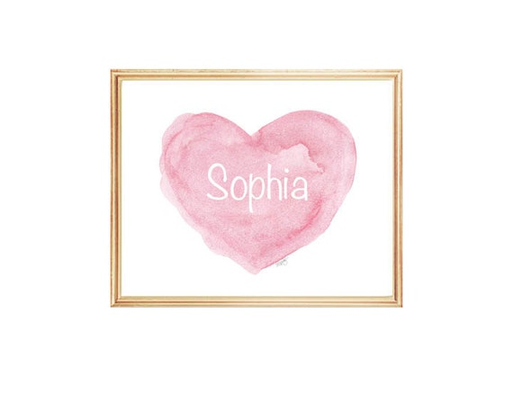 Personalized Newborn Baby Gift in Pink, 8x10 Heart Print