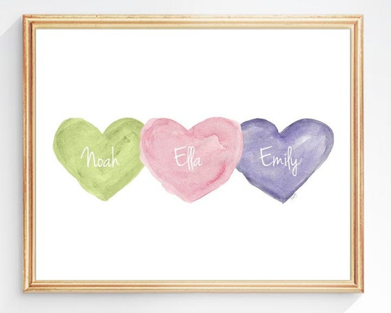 Triplets Nursery Gift, 8x10 Personalized Watercolor Hearts