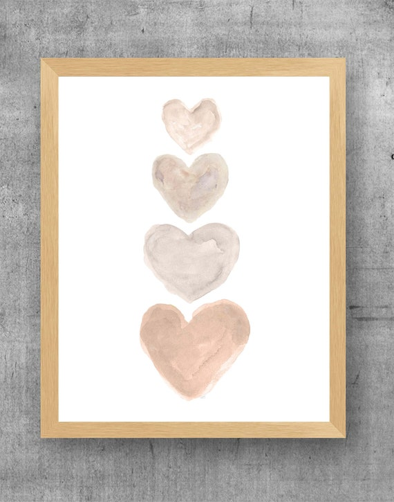 Four Hearts Artwork; 11x14 Family Print