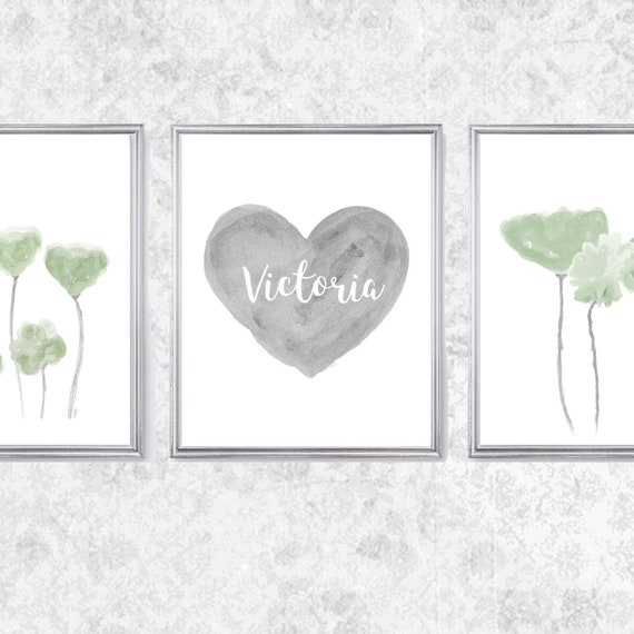 Gray and Green Nursery Art, 8x10 Set of 3 Prints