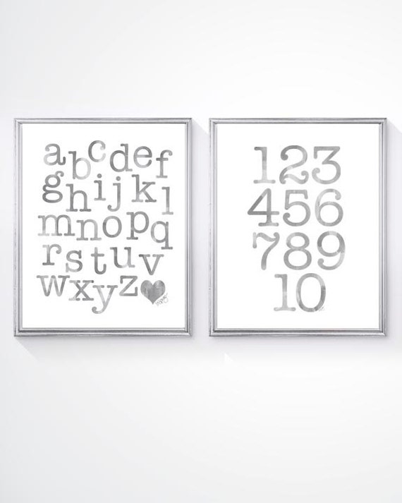 Gray ABC 123 Print Set for Children, Set of 2-8x10