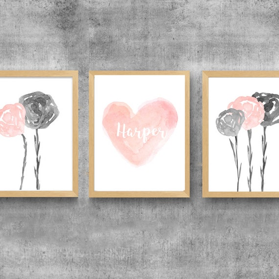 Blush and Gray Girls Prints, Set of 3 Watercolor Flower and Heart Prints