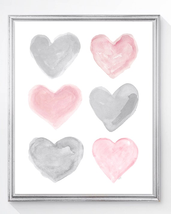Pink and Gray Girls Wall Decor, 11x14 Hearts Print