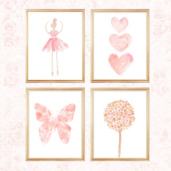 Blush Nursery Gallery Wall, Set of 4-8x10 Prints with Flowers, Ballerina, Hearts and Butterfly