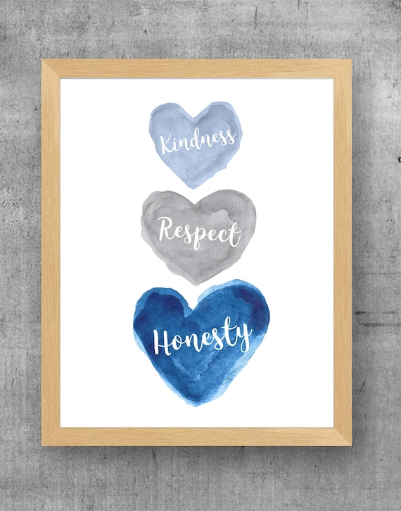 Kindness, Respect, Honesty; Young Boys Inspirational Quotes for Bedroom