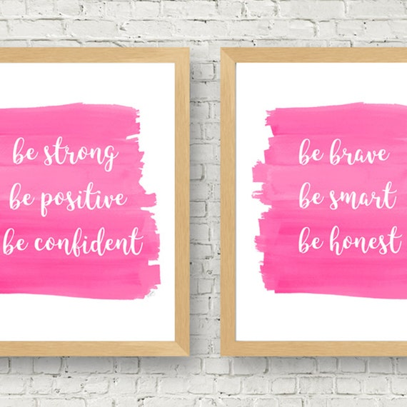 Girl Power Wall Art, 8x10 Set of 2 Inspirational Quotes for Girls Room