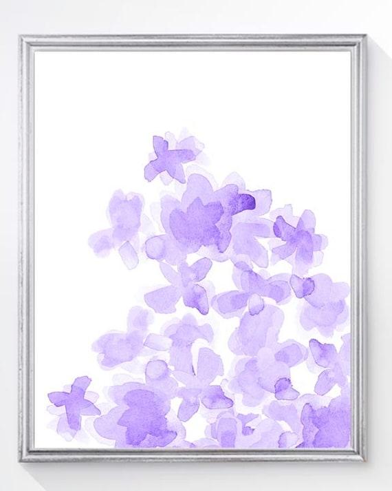 Purple Flower Print for Girls Room, 8x10