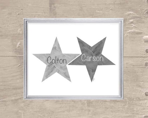 Star Print for Boys with Custom Names, 8x10