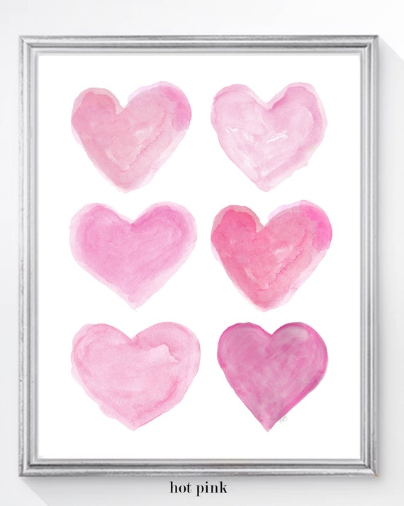 Pretty Pink Heart Collage Print for Girl's Bedroom