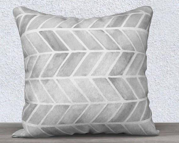 Gray Velvet Pillow with Arrow Motif, 14x20, 18x18
