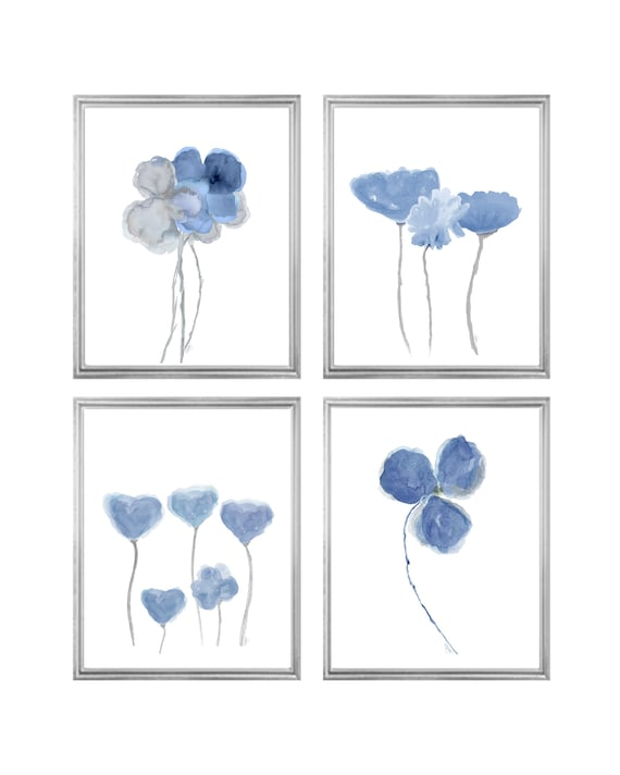 Denim Blue Botanical Gallery, Set of 4-8x10 Floral Prints