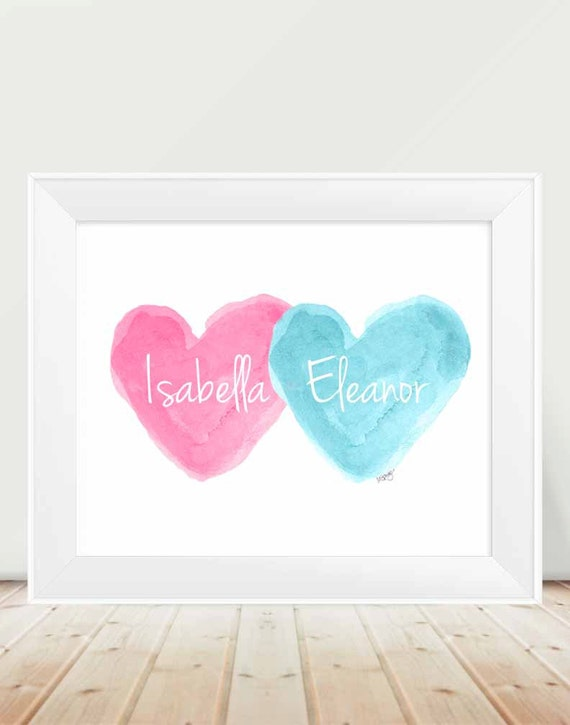 Hot Pink and Turquoise Children's Decor, 11x14 Personalized Print