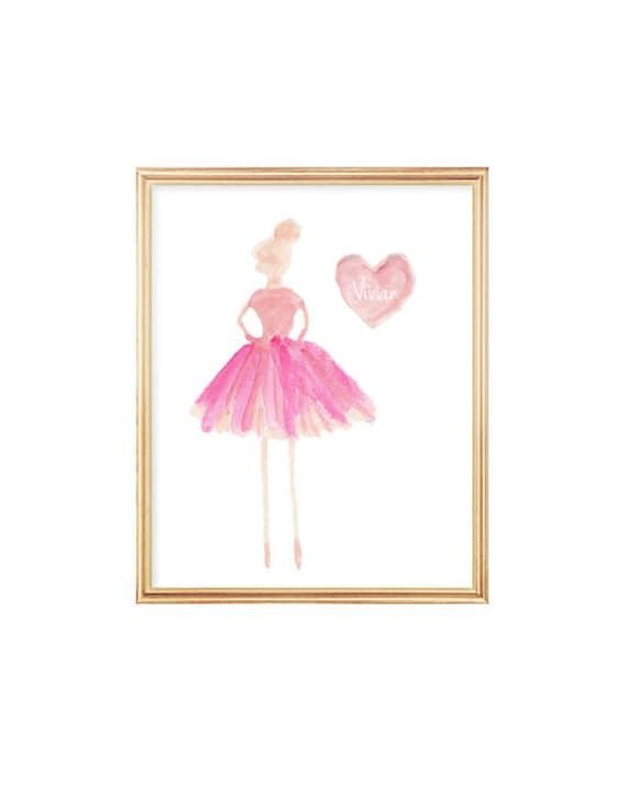 Ballerina Gift; 8x10 Personalized Ballerina Print