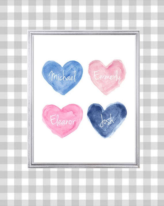 Pink and Navy Kids Decor, 8x10 Personalized Family Print