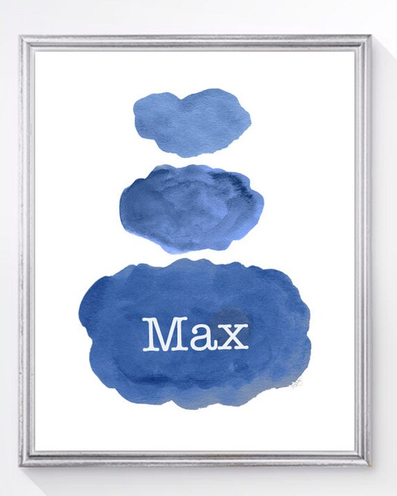 Personalized Watercolor Clouds Print, 8x10